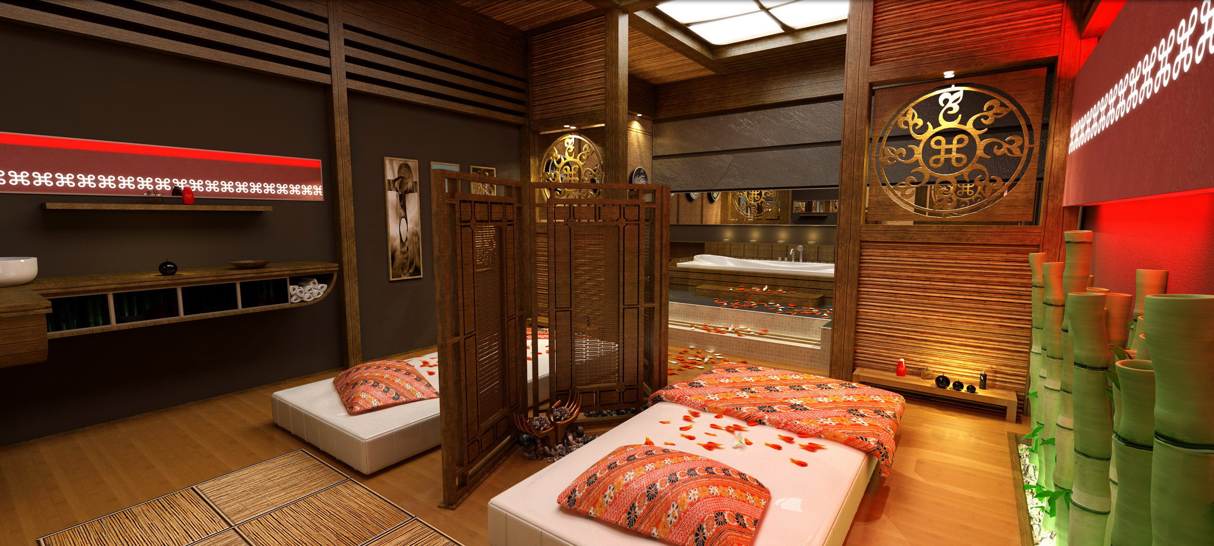 private spa rendering angled massage table view