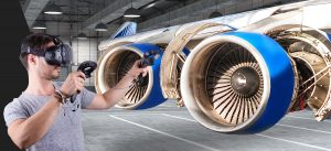young man wearing VR headset to understand jet engines