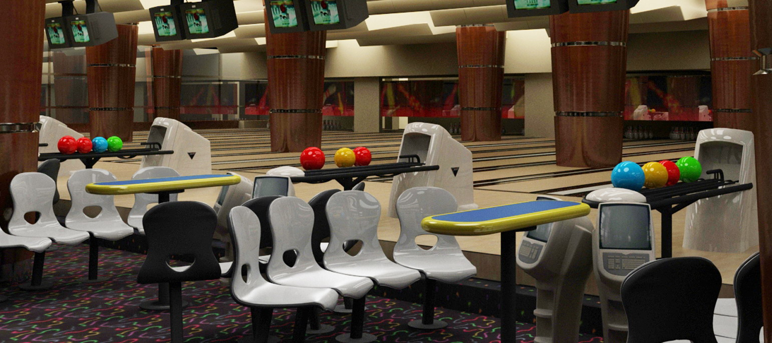 Bowling alleys interior 3d rendering