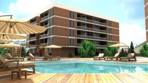 Residential site with pool exterior visualization