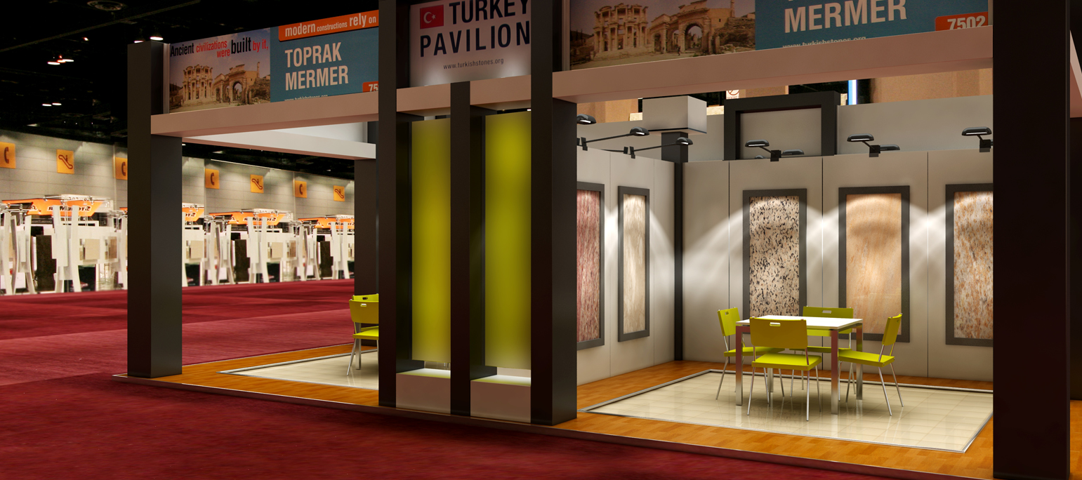 3D render for an exhibit booth at The Ultimate Tile & Stone Show