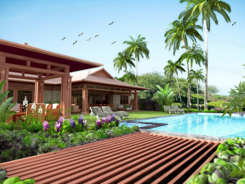 hawaii house exterior rendering pool view with palms