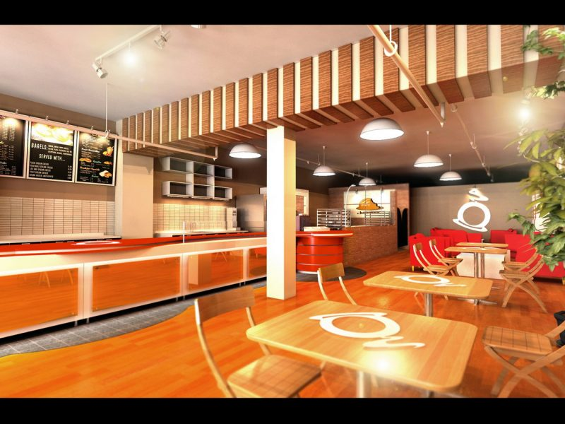 3D interior design rendering for coffee shop