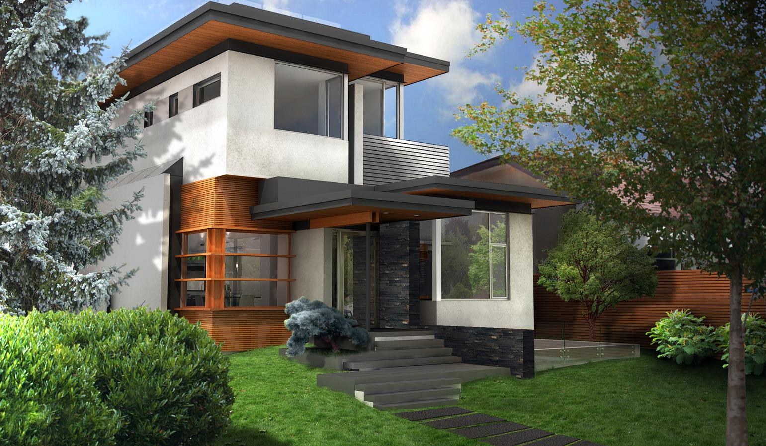 green house exterior rendering day time