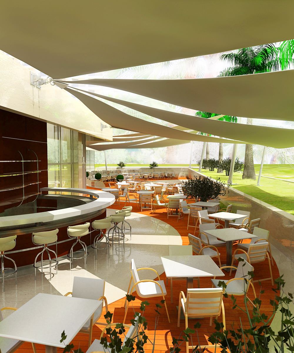 restaurant patio and roof rendering with realistic lighting