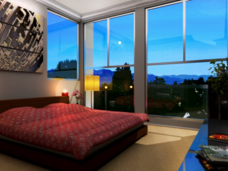 3D bedroom rendering evening time