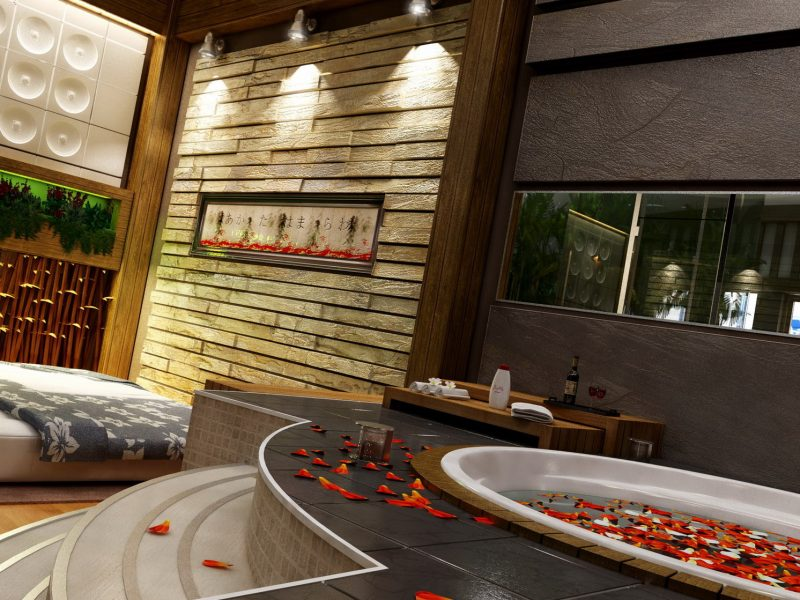 private spa rendering angled tub view