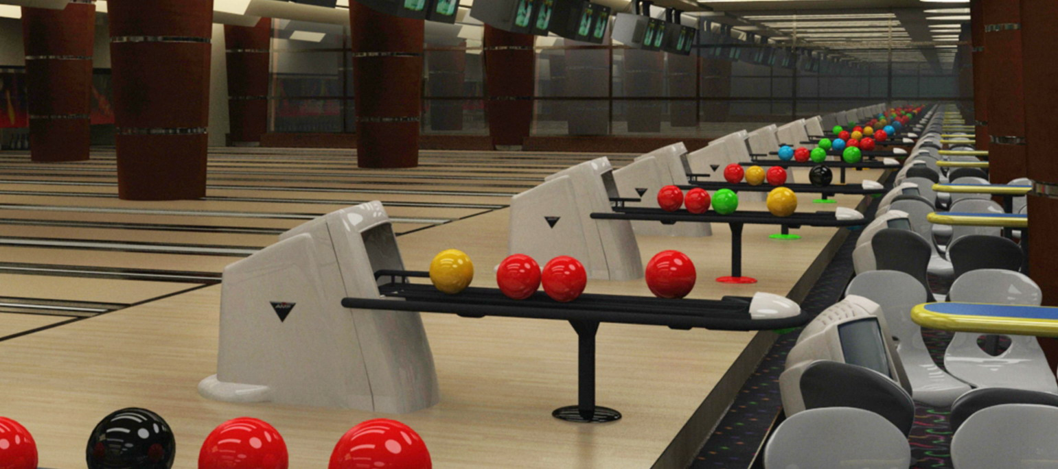 Bowling alley interior 3d rendering
