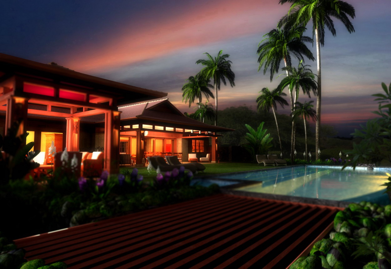 Hawaii house exterior rendering night time