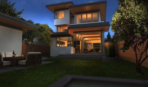 green house exterior rendering at night