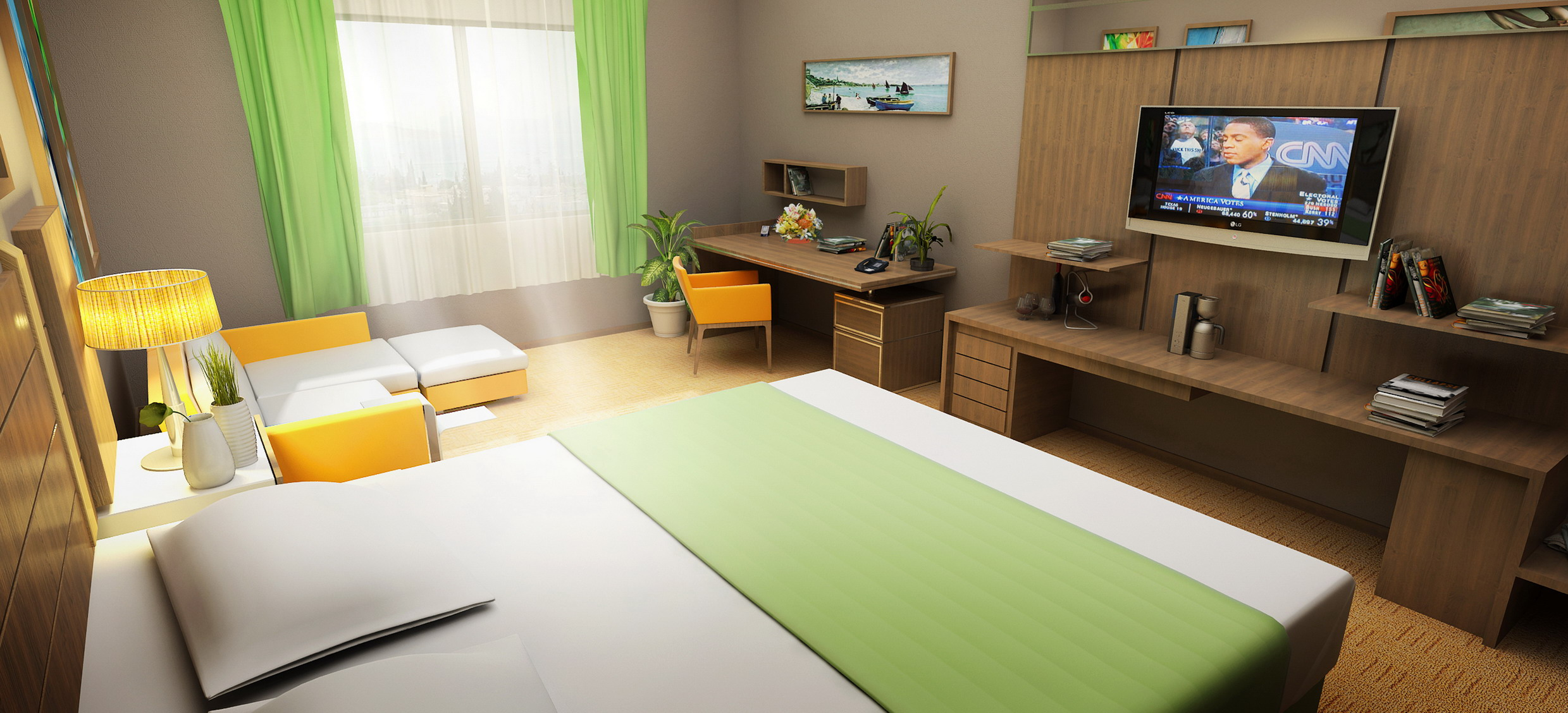 hotel room secondary layout rendering from angle