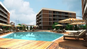 Residential site with pool exterior render
