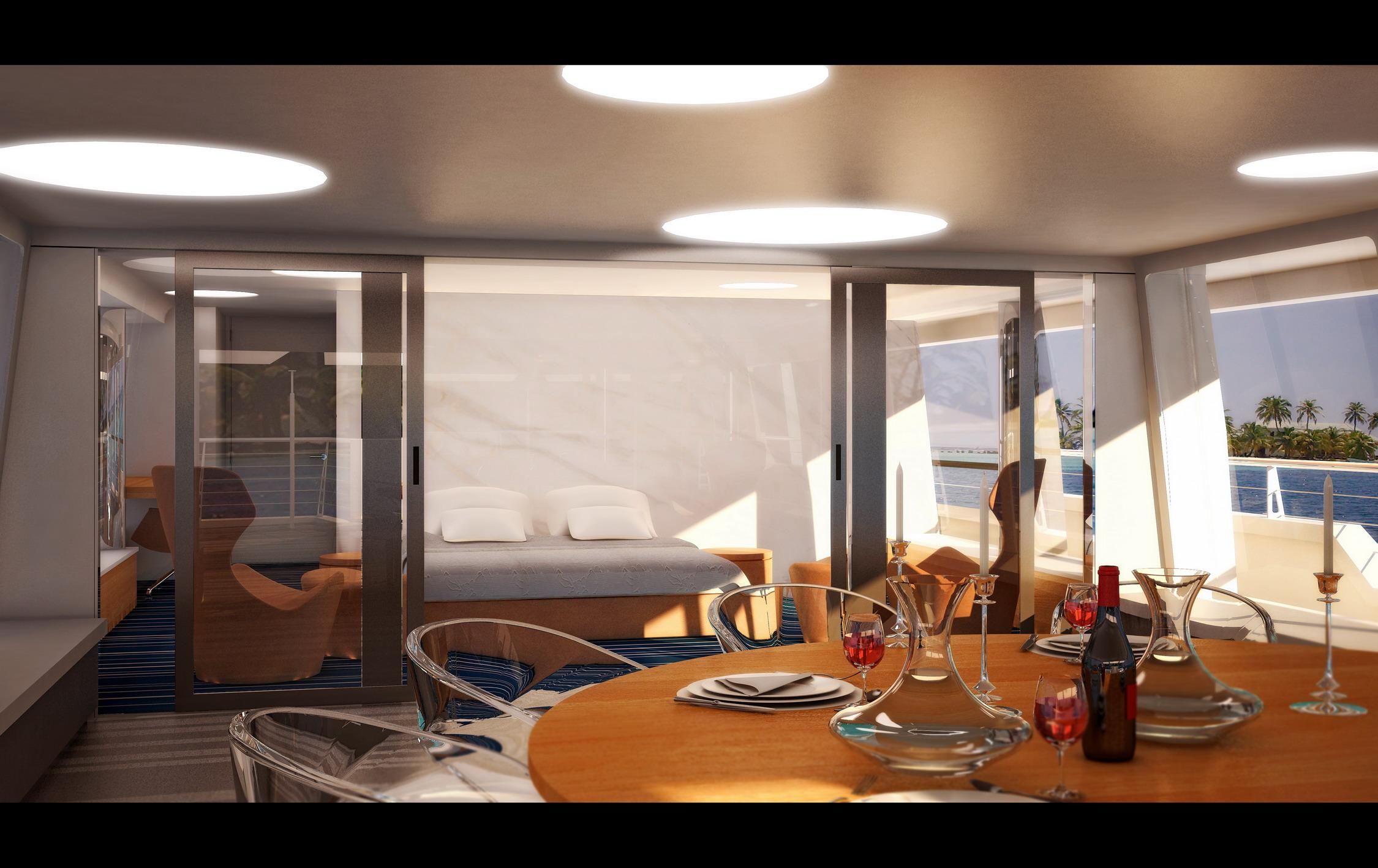 yacht bedroom rendering