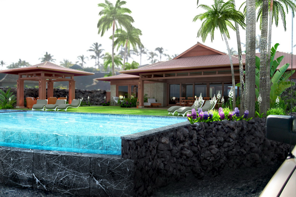 hawaii house rendering pool view day light