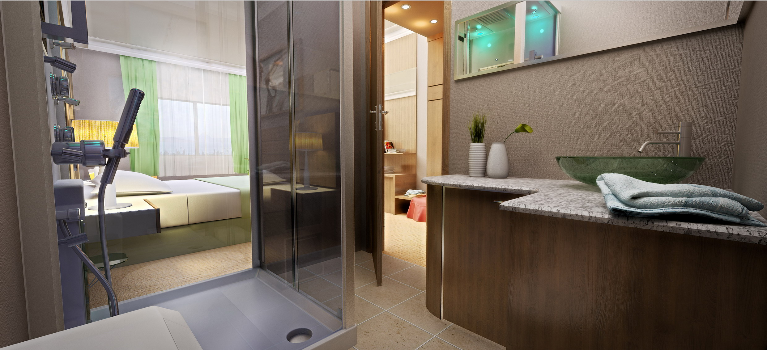 hotel bathroom rendering
