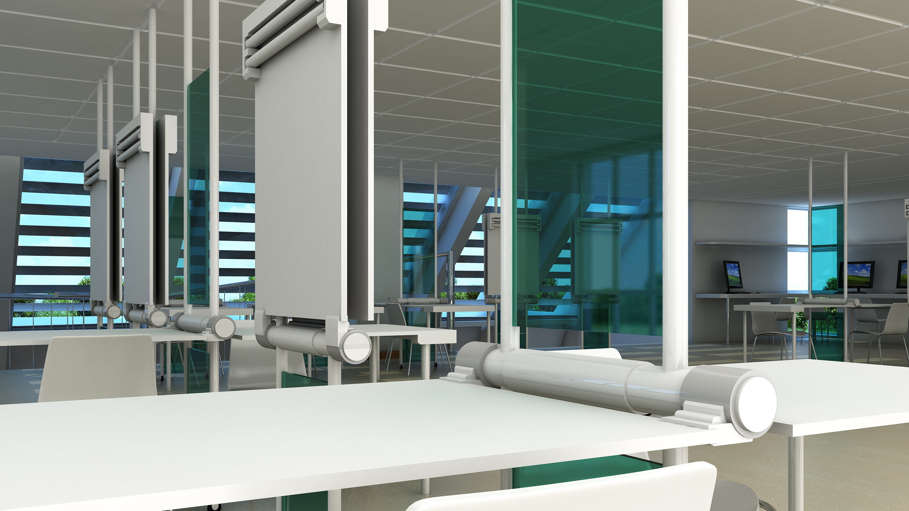 architecture studio interior 3D visualization tables