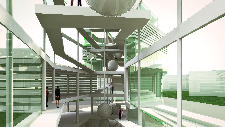 science museum concept interior render