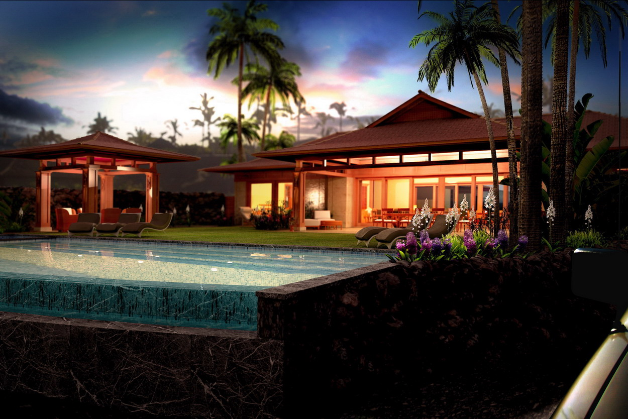 hawaii house rendering pool view evening
