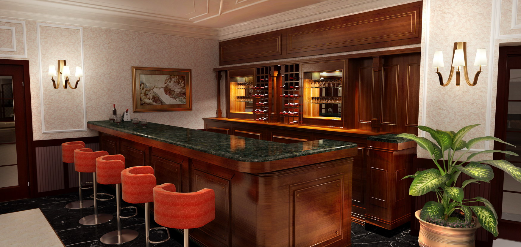 interior rendering of bar and stools
