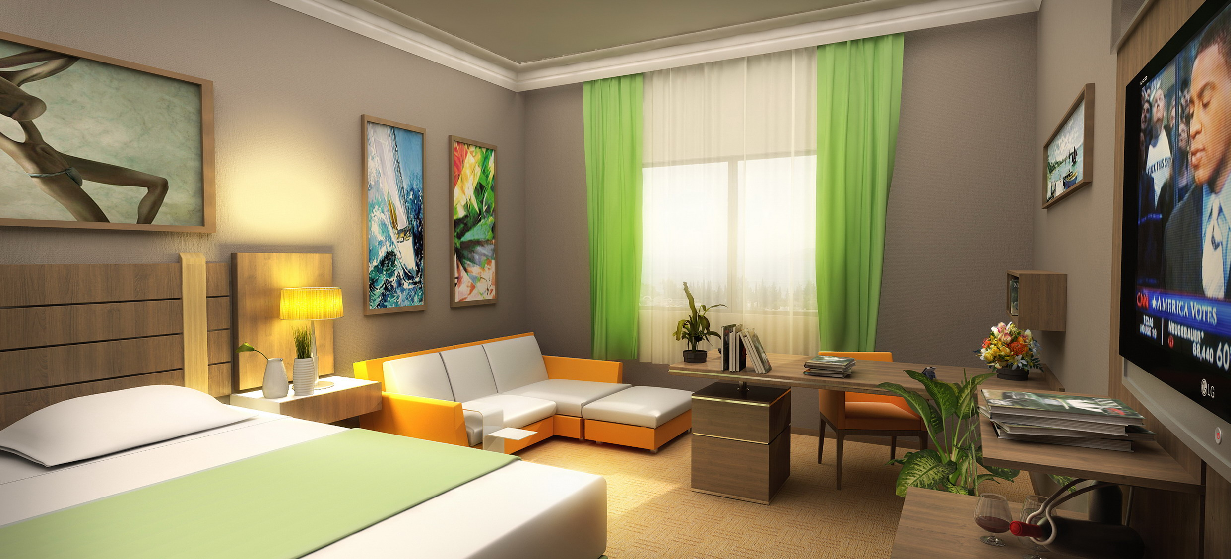 3D hotel room sectional sofa rendering