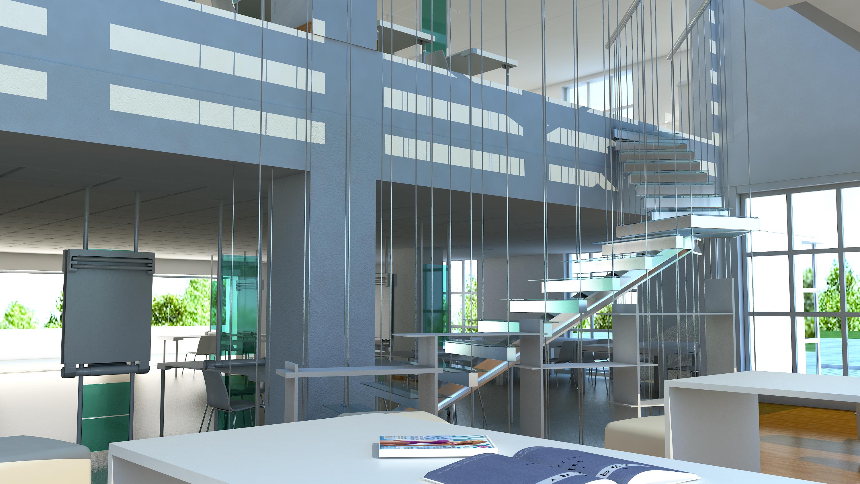 architecture studio interior rendering stairs