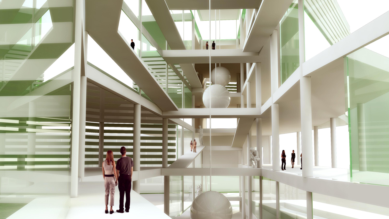 concept science museum interior rendering