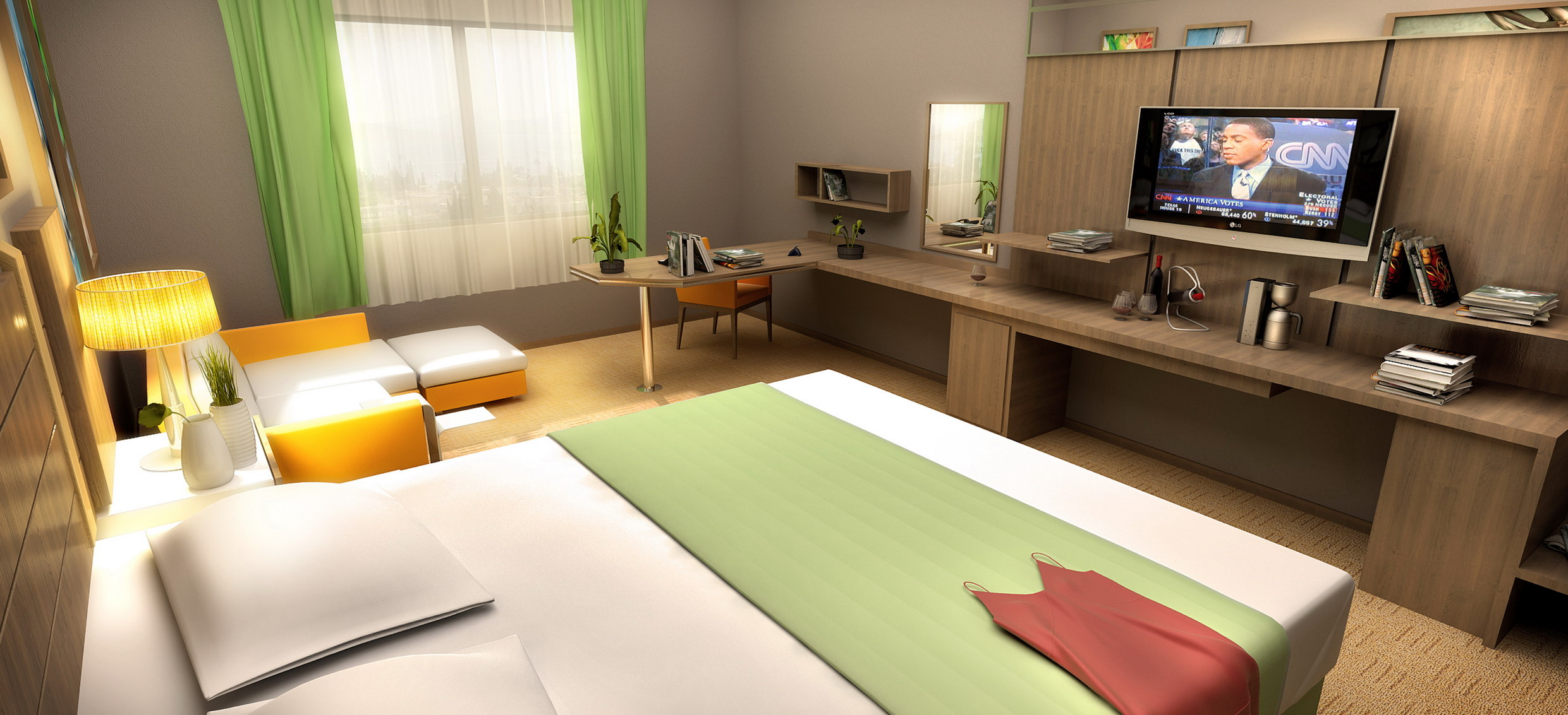 3D hotel room desk rendering