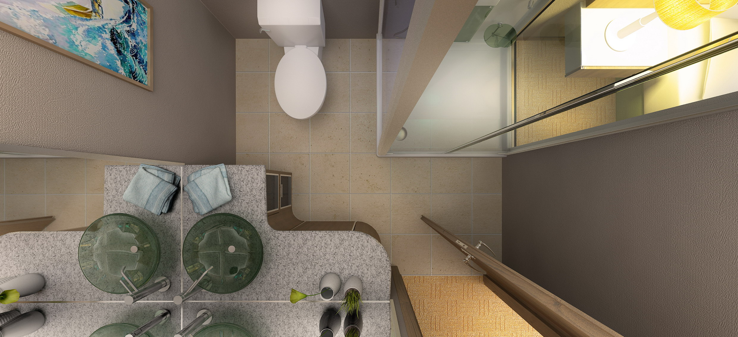 3D hotel room bathroom rendering from top