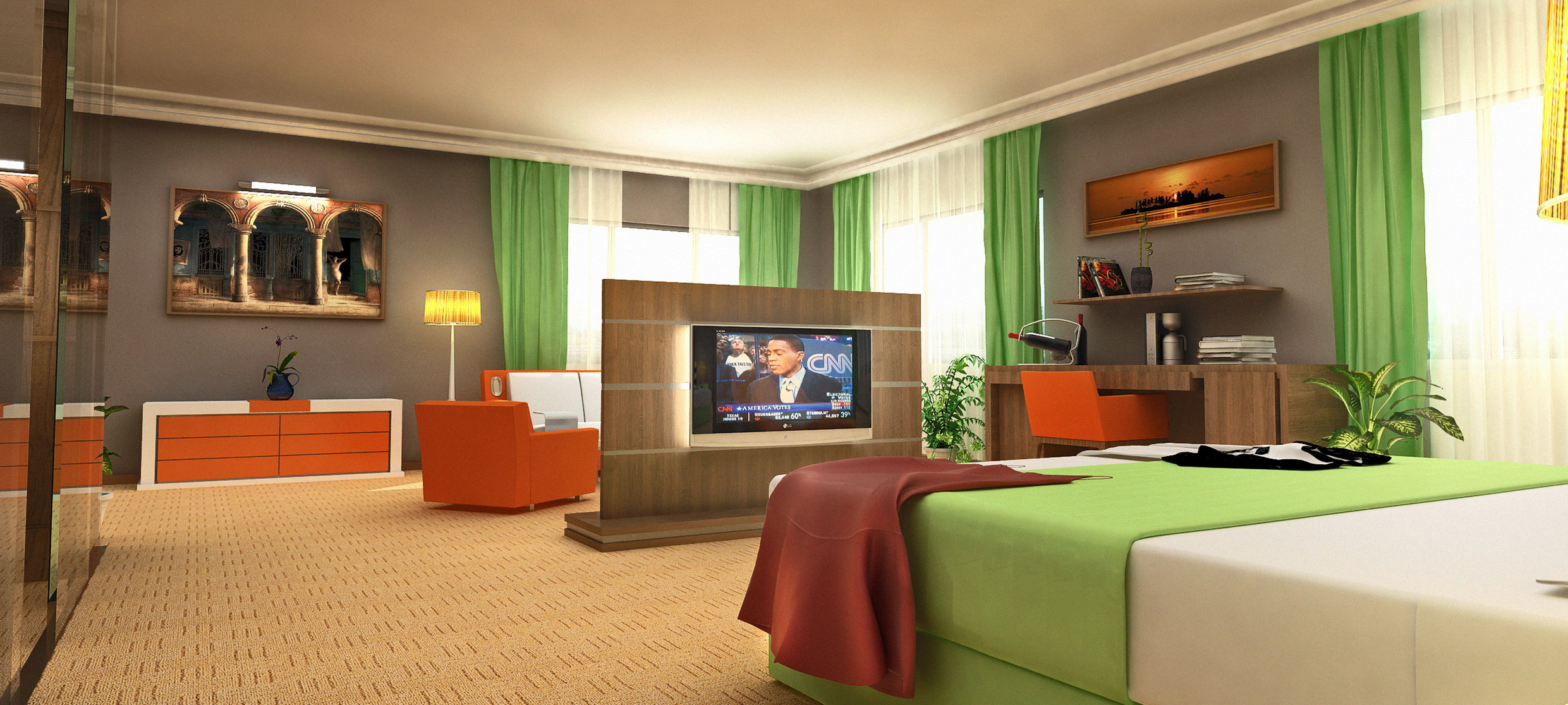 3D hotel room rendering bed side