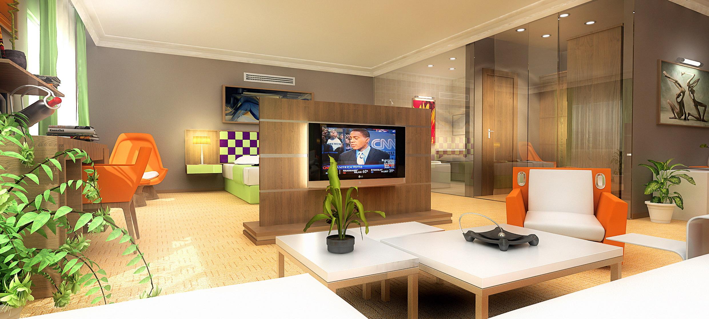 3D hotel room rendering