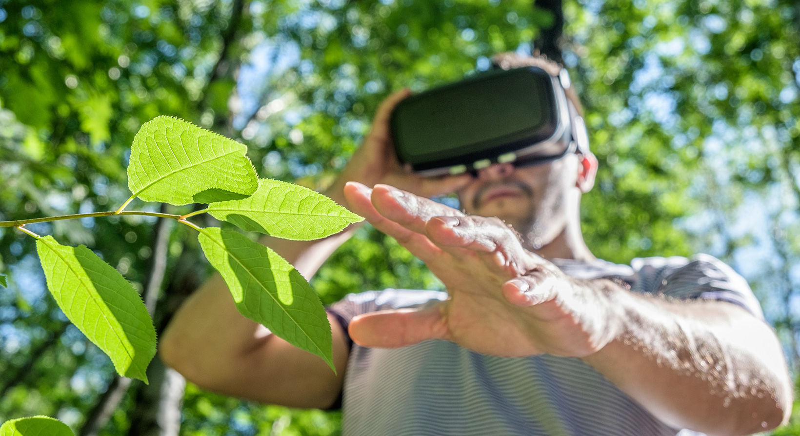 man with virtual reality headset for social activism important issues