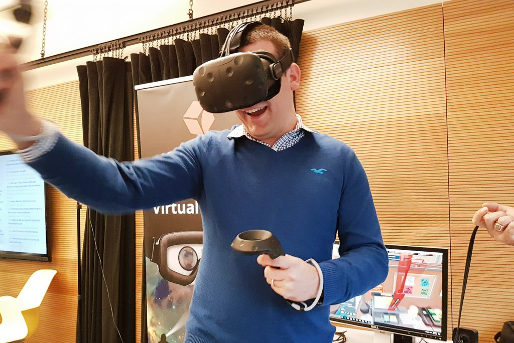 male visitor with HTC Vive in SFU