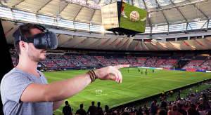 man watching soccer game in virtual reality