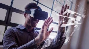 man wearing virtual reality headset at trade show