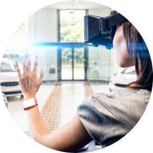 virtual reality headset woman car showroom