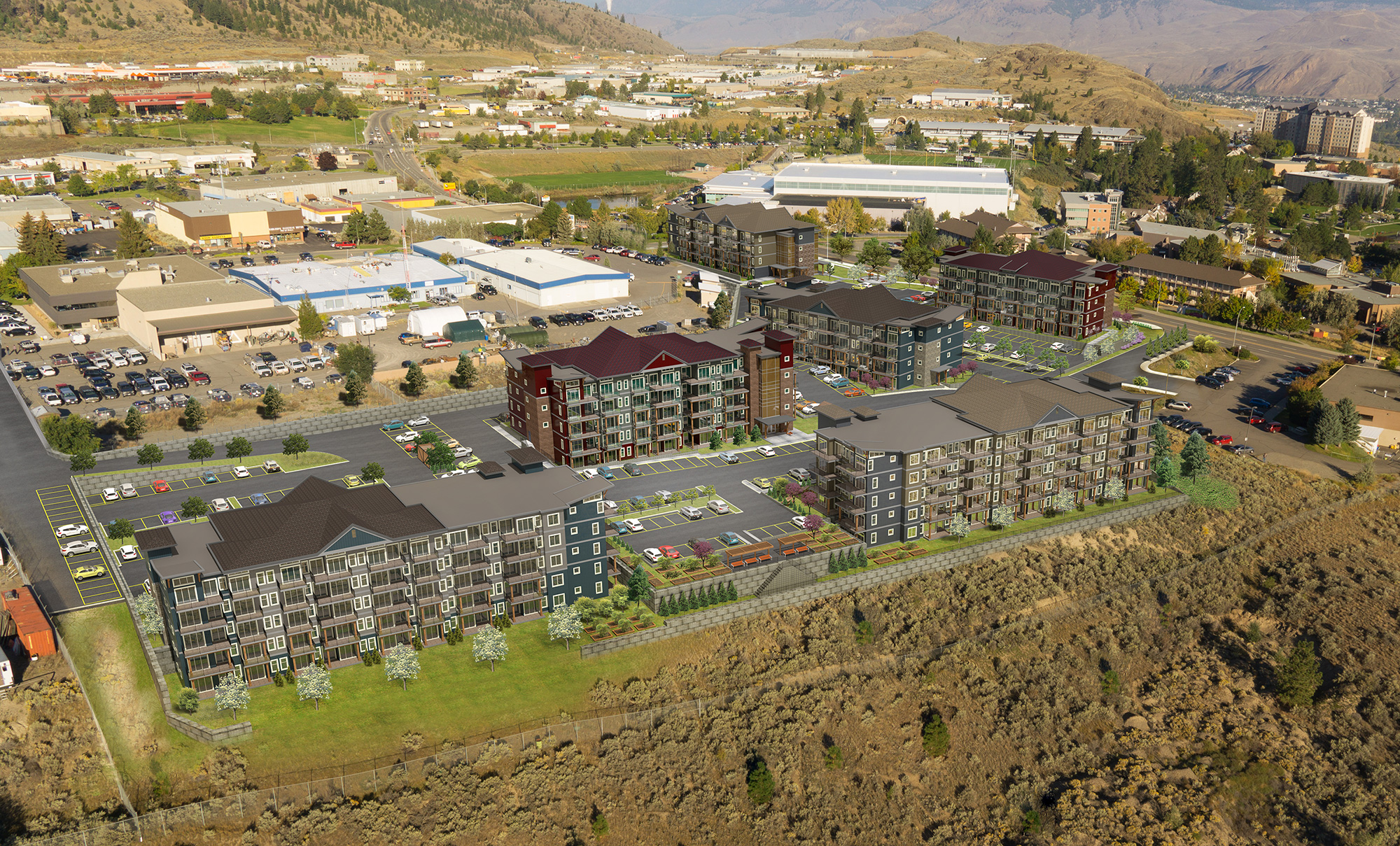 exterior visualization of residential rental units in Kamloops, BC