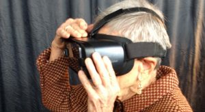 Elderly woman trying Virtual Reality (VR) with no motion sickness