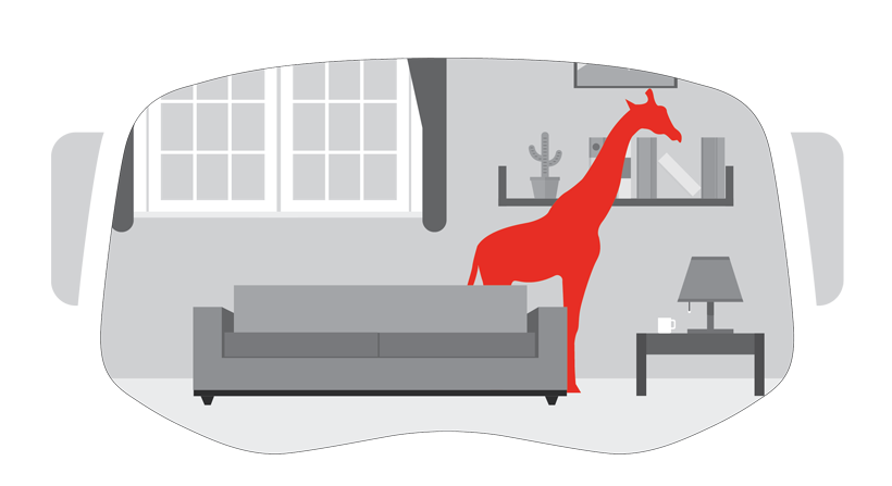 Illustration of Mixed Reality showing giraffe in a room