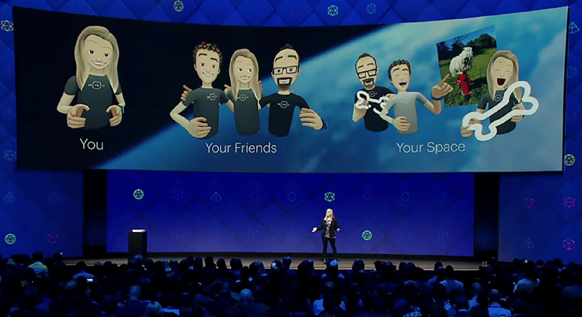 Speaker on stage showing Facebook Spaces