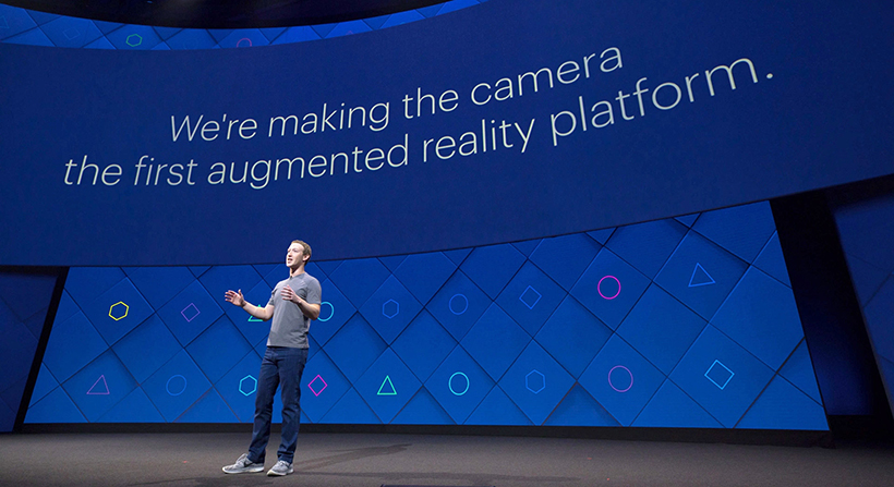 mark zuckerberg on stage talking about augmented reality platform