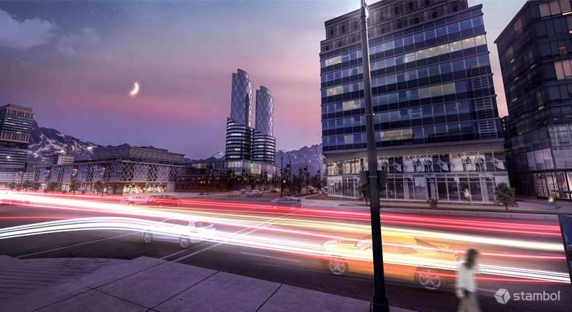 3D exterior renderings of a building in night time