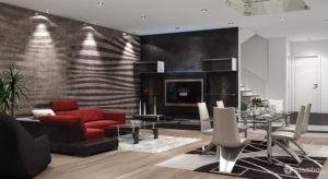 realistic 3D interior rendering of a condo