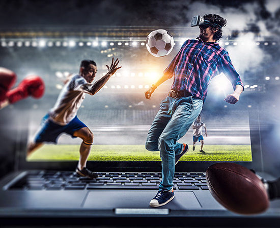 collage image of a man wearing virtual reality headset and playing in sports video game