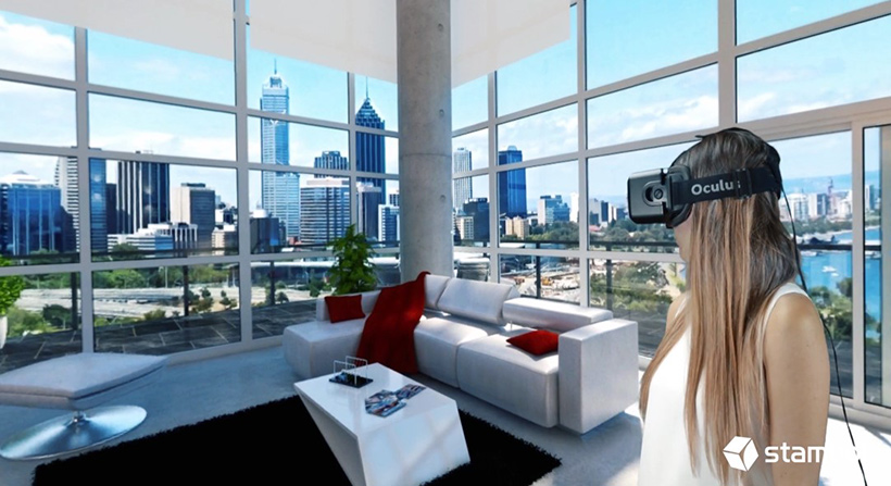 Young female looking at a condo interior with virtual reality headset