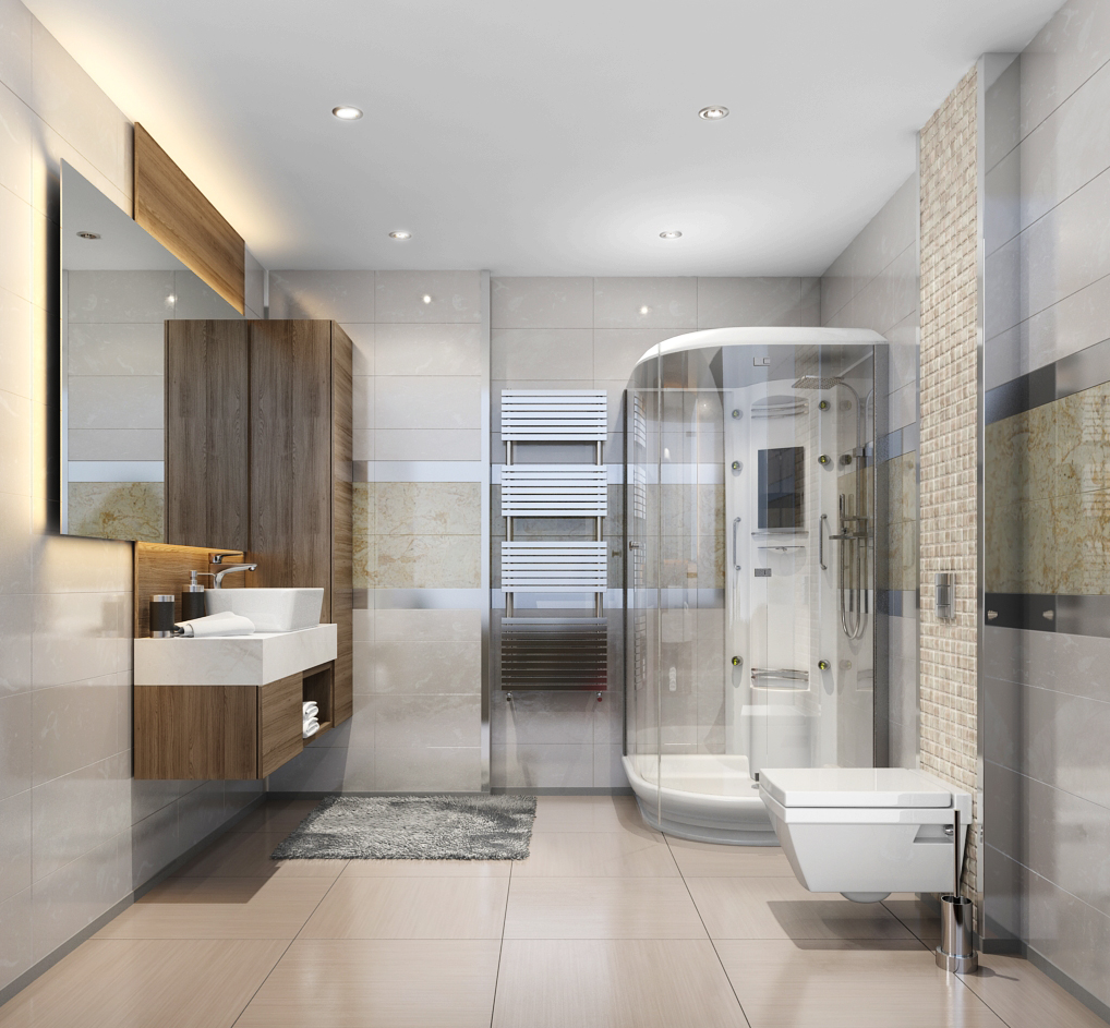 high end bathroom rendering