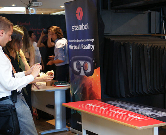 Young guest looking at Stambol Augmented Reality app