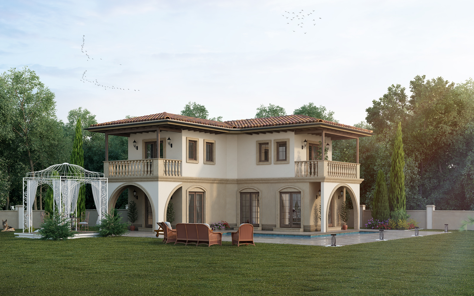 house rendering from distance angle