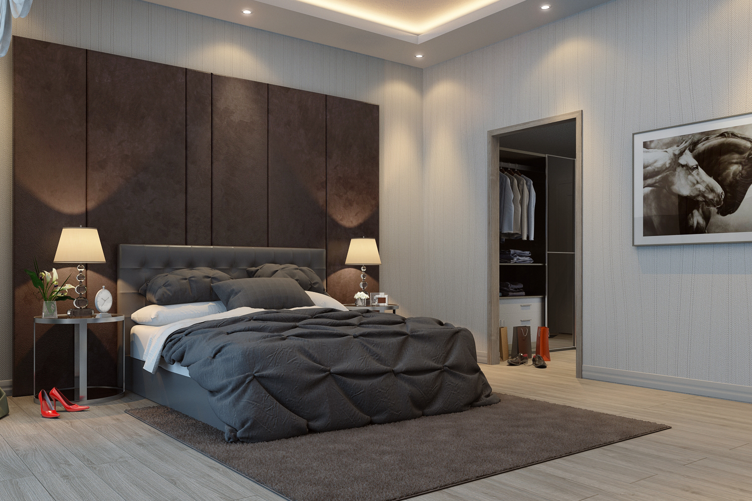 high end 3D bedroom rendering