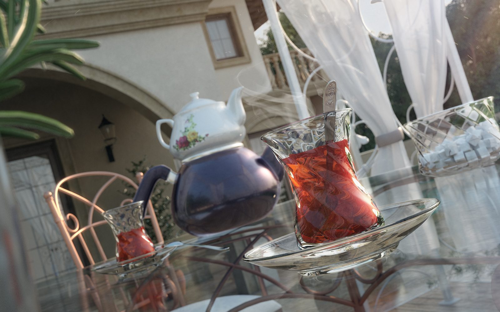 close up render of turkish tea glass and teapot
