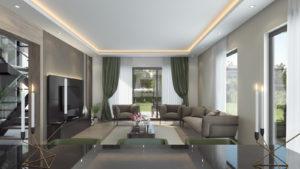 living room interior wide shot render